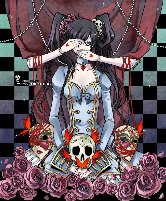 Tags: Anime, Poisoncage, Alice in Wonderland, X-down, Alice (X-down), Text: Memento Mori, Wig, Carnival Mask, Original
