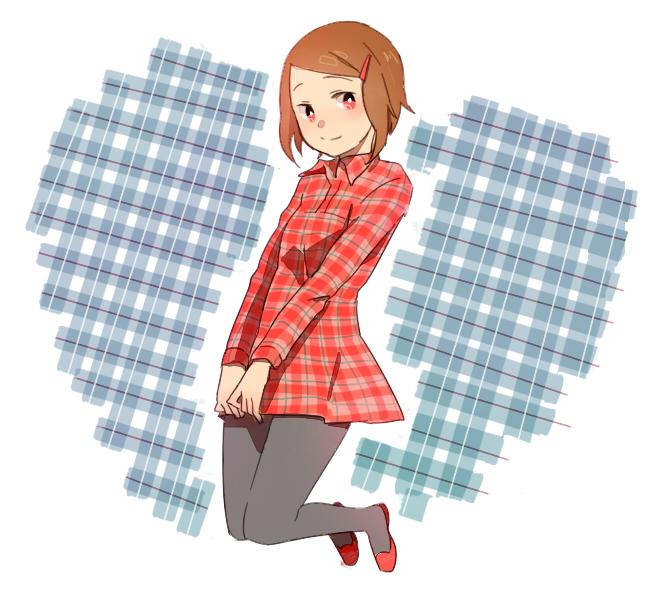 Tags: Anime, Pixiv Id 3563402, Digimon Adventure, Yagami Hikari, Plaid Background, Fanart