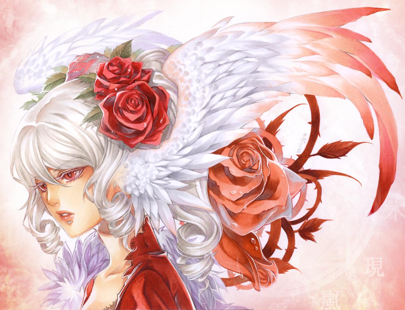 Розы аниме открытки