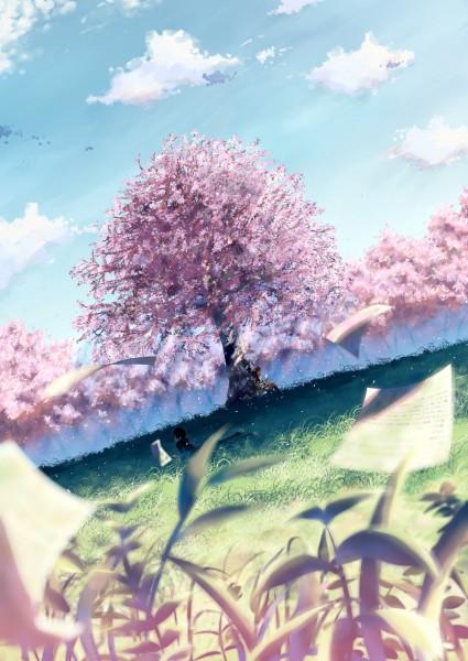 Tags: Anime, Grass, Cherry Tree, Wind, Scenery, Nature, Bungaku Shoujo