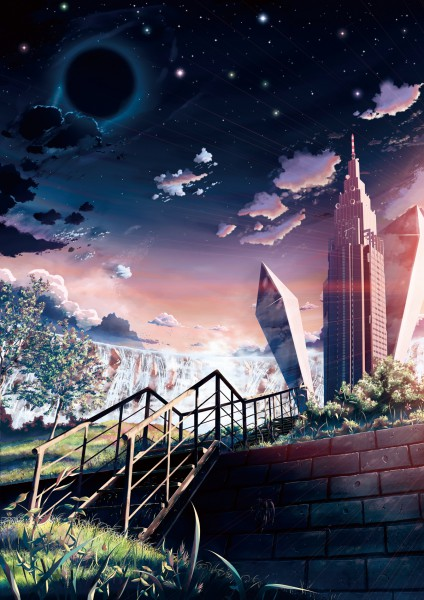 Tags: Anime, Yakkun, Fantasy, Skyscraper, Building, Night Sky, Bushes