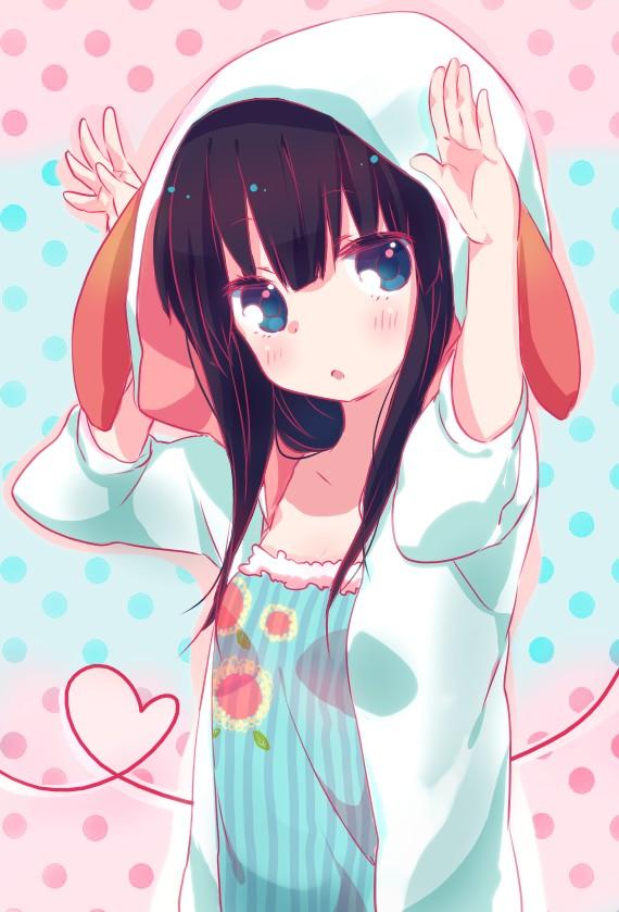 Tags: Anime, Aguri (Aguri0406-aoi), Working!!, Yamada Aoi, Bunny Ear Gesture, Mobile Wallpaper, Pixiv, Fanart From Pixiv, Fanart