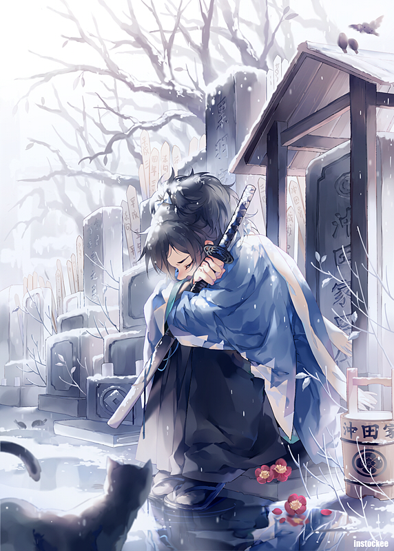 Tags: Anime, INstockee, Touken Ranbu, Yamato no Kami Yasusada, Uchigatana, Graveyard, Grave, Fetal Position, Mobile Wallpaper, Fanart From Pixiv, Pixiv, PNG Conversion, Fanart