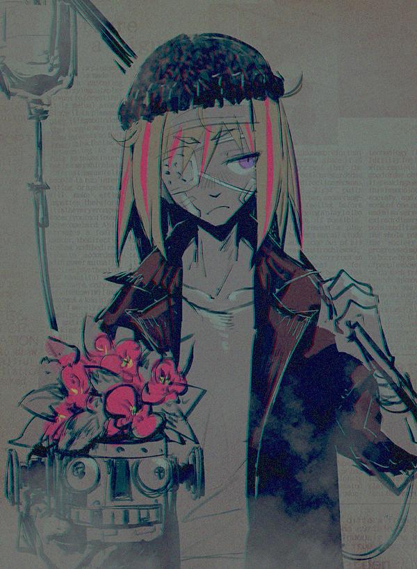 Tags: Anime, Die (Artist), Flip Flappers, Yayaka (Flip Flappers), I.V. Pole, Bandaged Cheek, Bandaged Wrist, Fanart From Pixiv, Pixiv, Fanart