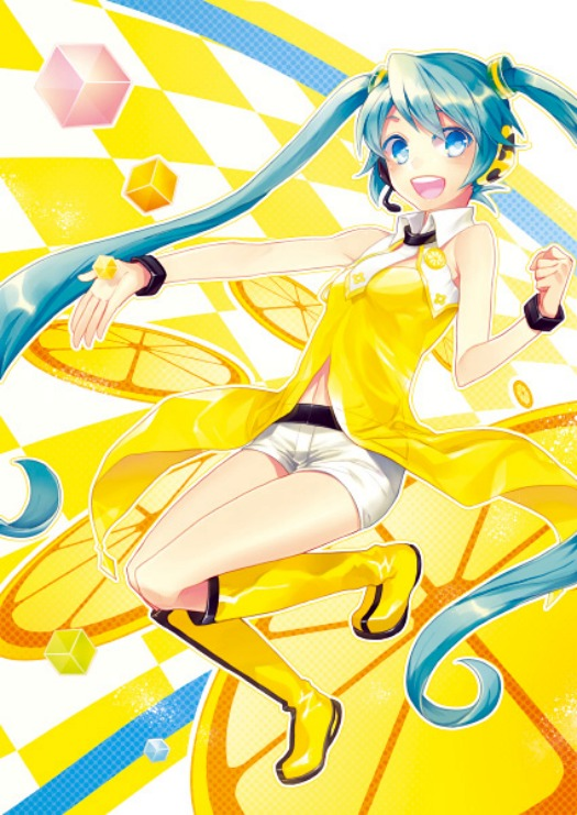 Tags: Anime, Renta, Project DIVA 2nd, VOCALOID, Hatsune Miku, Upscale, Project DIVA Yellow, Mobile Wallpaper, Yellow (Song)