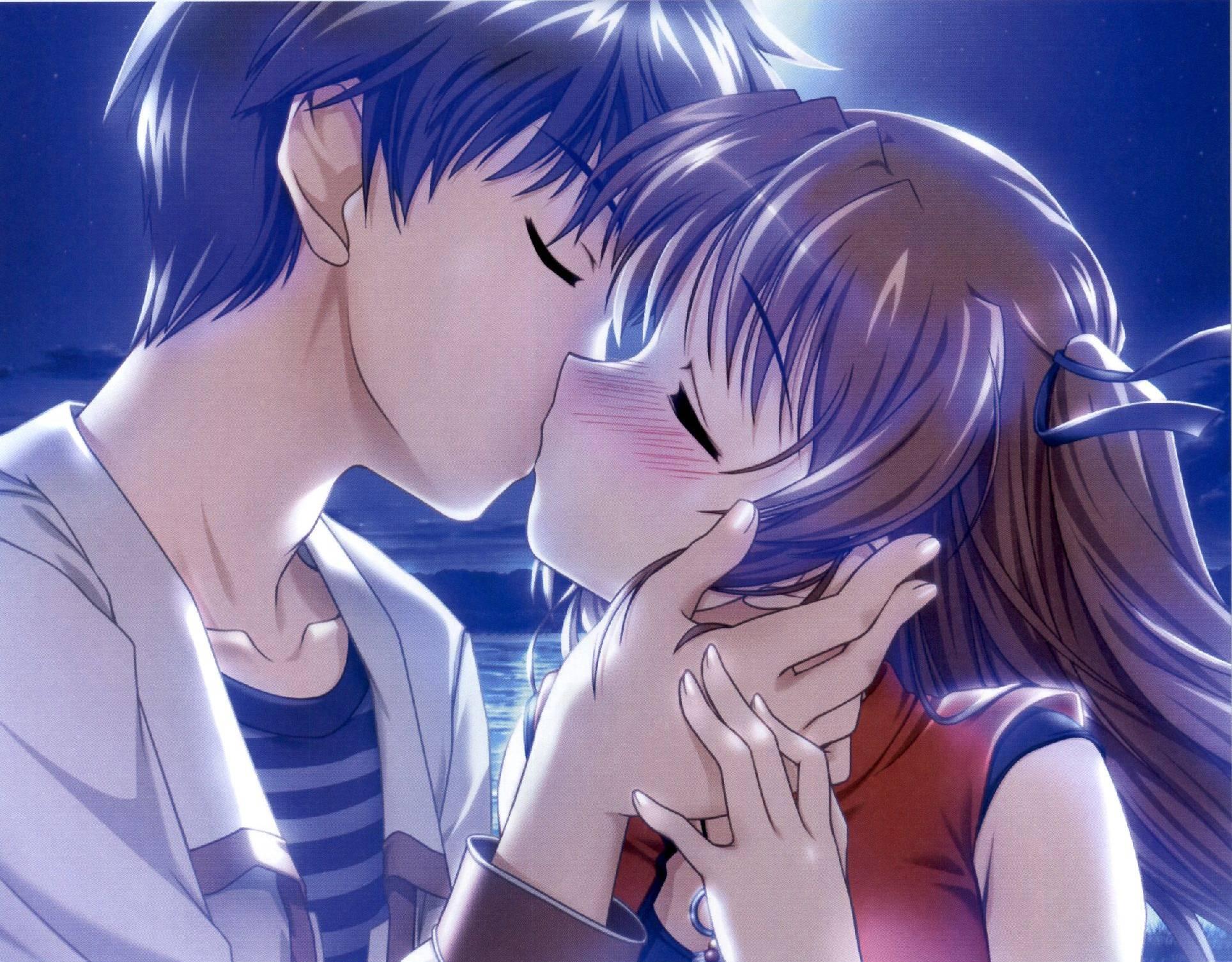 Целующие аниме картинки