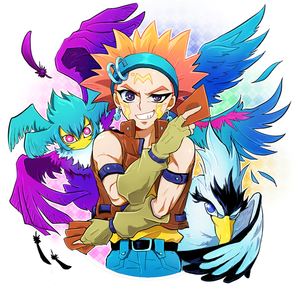 Tags: Anime, Pixiv Id 1054660, Yu-Gi-Oh! 5D's, Yu-Gi-Oh!, Blackwing - Blizzard the Far North, Crow Hogan, Blackwing - Gale the Whirlwind, Mouthless, Fanart, Pixiv, Fanart From Pixiv, Blackwing
