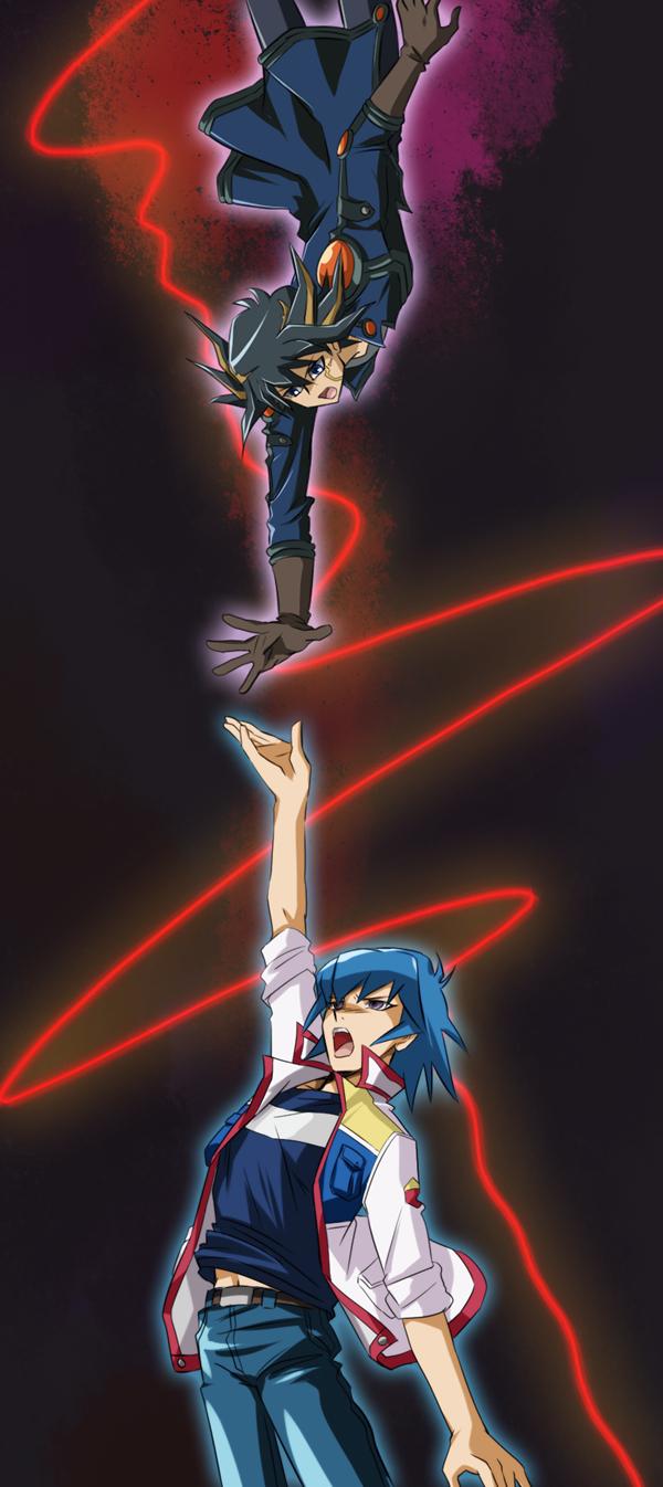 Tags: Anime, Ashi Ura, Yu-Gi-Oh! 5D's, Yu-Gi-Oh!, Yusei Fudo, Bruno, Pixiv, Fanart From Pixiv, PNG Conversion, Fanart