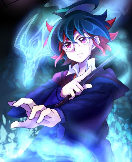 Tags: Anime, Pixiv Id 2690550, Yu-Gi-Oh!, Yu-Gi-Oh! ARC-V, Odd-Eyes Pendulum Dragon, Sakaki Yuya, Harry Potter (Cosplay), Harry Potter (Parody), Requested Upload, Fanart From Pixiv, Fanart, PNG Conversion, Pixiv