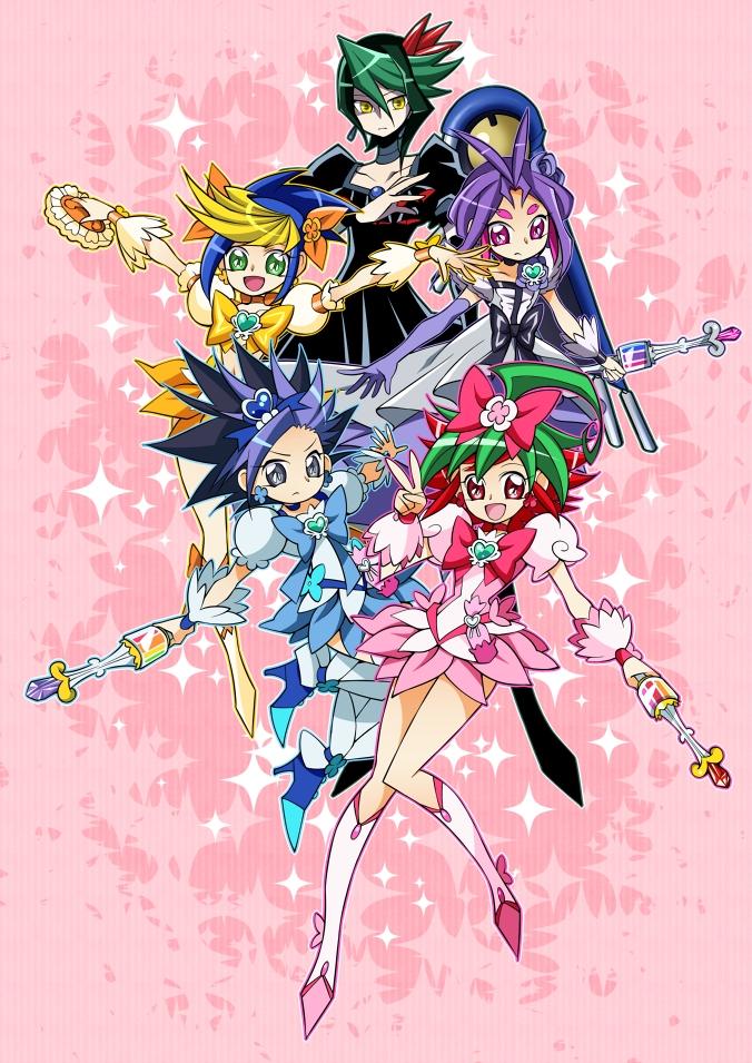 Tags: Anime, Ninomae, Yu-Gi-Oh!, Yu-Gi-Oh! ARC-V, Yuugo (Yu-Gi-Oh! ARC-V), Kurosaki Shun, Yuto (Yu-Gi-Oh! ARC-V), Sakaki Yuya, Yuuri (Yu-Gi-Oh! ARC-V), Cure Sunshine (Cosplay), Cure Blossom (Cosplay), Cure Marine (Cosplay), Dark Precure (cosplay)