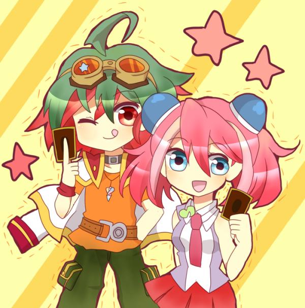Tags: Anime, Pixiv Id 8704130, Yu-Gi-Oh! ARC-V, Yu-Gi-Oh!, Hiiragi Yuzu, Sakaki Yuya, Semi Chibi, Fanart, Fanart From Pixiv, PNG Conversion, Pixiv, YuyaYuzu