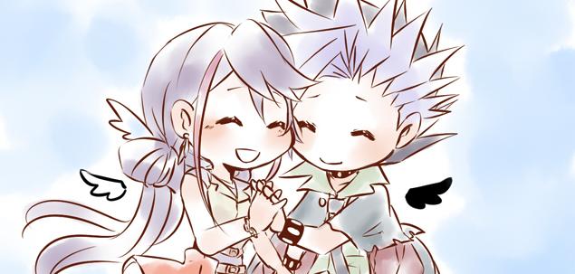 Tags: Anime, Pixiv Id 1550352, Yu-Gi-Oh! ARC-V, Yu-Gi-Oh!, Kurosaki Ruri, Yuto (Yu-Gi-Oh! ARC-V), No Nose, Detached Wings, Semi Chibi, Fanart, Fanart From Pixiv, Pixiv, YutoRuri