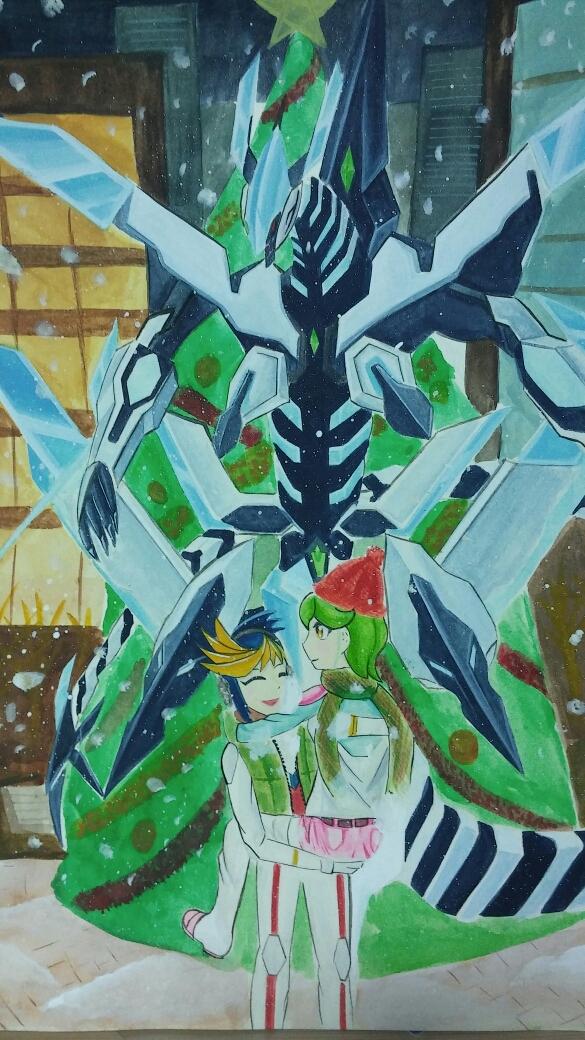 Tags: Anime, Yu-Gi-Oh! ARC-V, Yu-Gi-Oh!, Yuugo (Yu-Gi-Oh! ARC-V), Odd-eyes Wing Dragon, Rin (Yu-Gi-Oh! ARC-V), Pixiv, Fanart, YugoRin