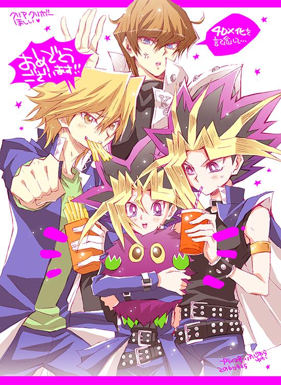 Tags: Anime, Pixiv Id 3296870, Yu-Gi-Oh! Duel Monsters, Yu-Gi-Oh!, Kuriboh, Jounouchi Katsuya, Kaiba Seto, Yami Yugi, Mutou Yuugi, Fanart, Fanart From Pixiv, Mobile Wallpaper, PNG Conversion