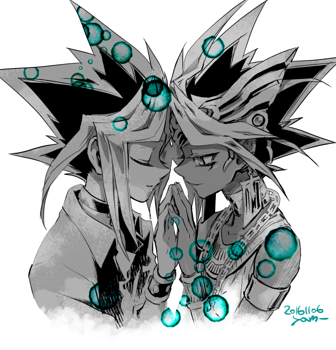 Tags: Anime, Pixiv Id 2075835, Yu-Gi-Oh!, Yu-Gi-Oh! Duel Monsters, Pharaoh Atem, Yami Yugi, Mutou Yuugi, Head to Head, Chain Necklace, Hand on Hand, Egyptian Clothes, Fanart From Pixiv, PNG Conversion