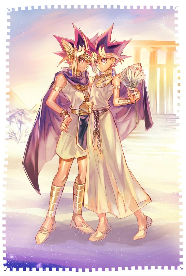Tags: Anime, Yuuichi-87, Yu-Gi-Oh!, Yu-Gi-Oh! Duel Monsters, Pharaoh Atem, Yami Yugi, Mutou Yuugi, Pyramid, Egyptian Clothes, Chain Necklace, Fanart, Pixiv, Mobile Wallpaper