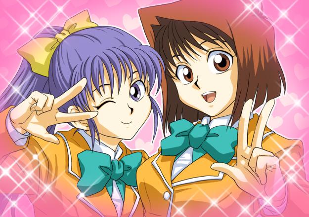 Tags: Anime, Pixiv Id 1457981, Yu-Gi-Oh! Season Zero, Yu-Gi-Oh!, Mazaki Anzu, Nosaka Miho, Yellow Outerwear, Yellow Jacket, Three Gesture, Aqua Neckwear, Aqua Bow, Fanart From Pixiv, Fanart