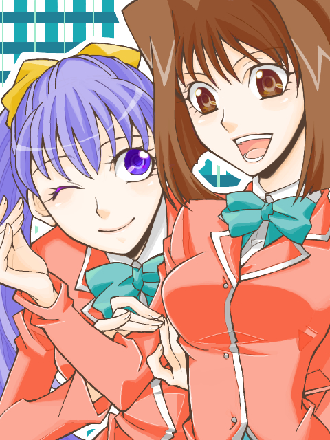 Tags: Anime, Naki, Yu-Gi-Oh! Season Zero, Yu-Gi-Oh!, Nosaka Miho, Mazaki Anzu, Aqua Bow, Tegaki, Fanart, Mobile Wallpaper, PNG Conversion