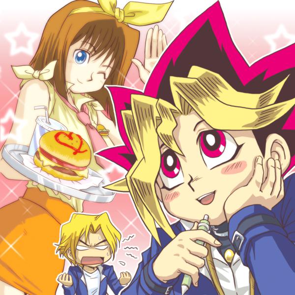 Tags: Anime, Pixiv Id 1457981, Yu-Gi-Oh! Season Zero, Yu-Gi-Oh!, Mazaki Anzu, Jounouchi Katsuya, Mutou Yuugi, Dutach Angle, Fast Food, O O, Orange Skirt, Fanart From Pixiv, Fanart