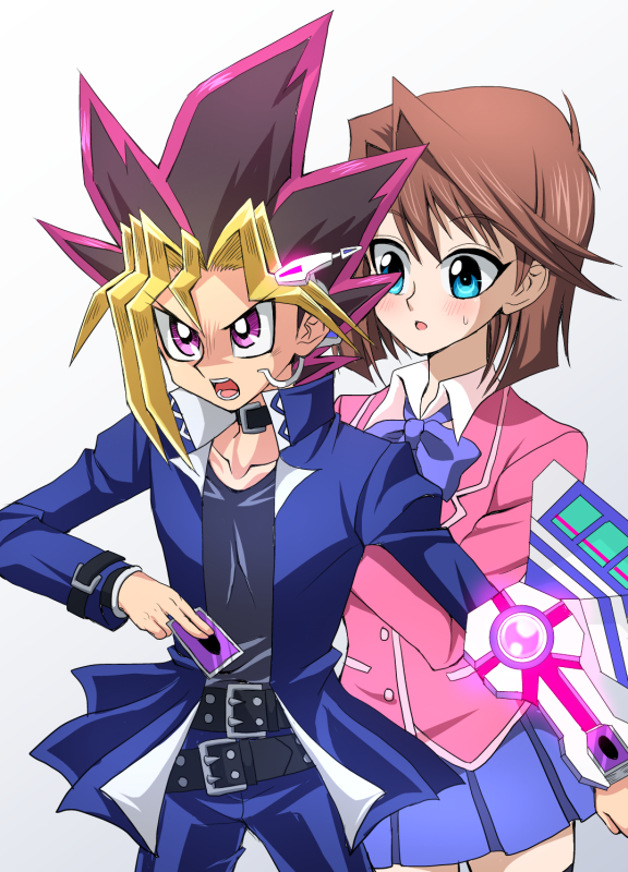 Tags: Anime, Pixiv Id 17808547, Yu-Gi-Oh! The Dark Side of Dimensions, Yu-Gi-Oh!, Yu-Gi-Oh! Duel Monsters, Mutou Yuugi, Mazaki Anzu, Protecting, PNG Conversion, Fanart, Pixiv, Mobile Wallpaper, Fanart From Pixiv