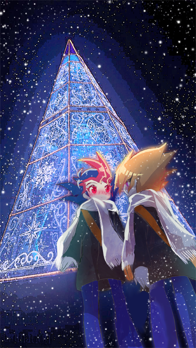 Tags: Anime, Pixiv Id 1314242, Yu-Gi-Oh!, Yu-Gi-Oh! ZEXAL, Tsukumo Yuma, Shingetsu Rei, Christmas Lights, Fanart From Pixiv, PNG Conversion, Fanart, Pixiv
