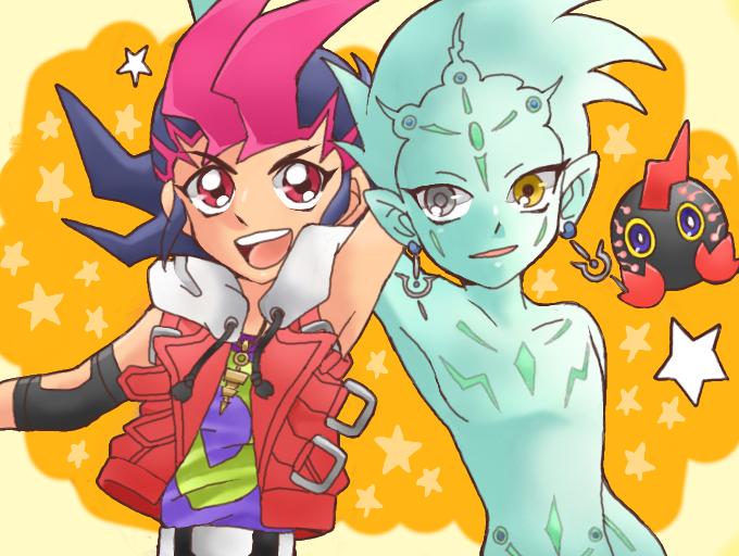 Tags: Anime, 8787 (Artist), Yu-Gi-Oh! ZEXAL, Yu-Gi-Oh!, Tsukumo Yuma, Kurivolt, Astral, Yellow Sclera, Emperor's Key, Mouthless, PNG Conversion, Fanart