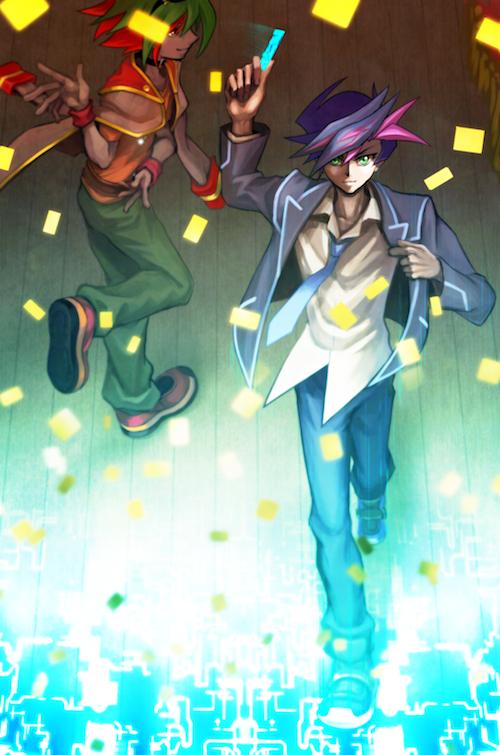 Tags: Anime, Pixiv Id 5526244, Yu-Gi-Oh! VRAINS, Yu-Gi-Oh!, Yu-Gi-Oh! ARC-V, Sakaki Yuya, Fujiki Yuusaku, Fanart, Fanart From Pixiv, PNG Conversion, Mobile Wallpaper, Pixiv