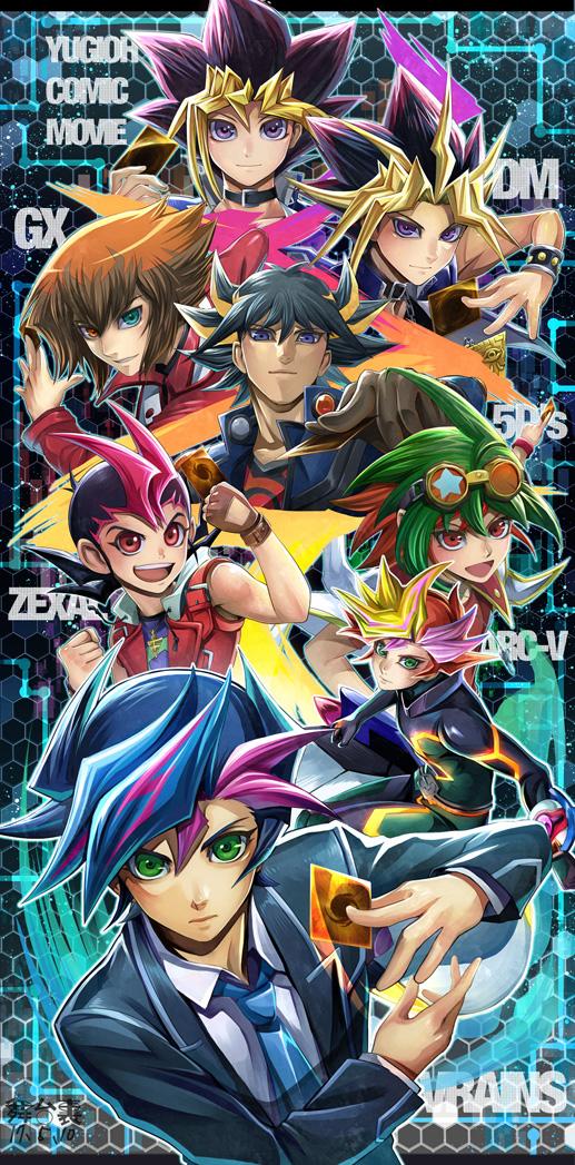 Tags: Anime, Pixiv Id 276799, Yu-Gi-Oh! VRAINS, Yu-Gi-Oh! ZEXAL, Yu-Gi-Oh! Duel Monsters, Yu-Gi-Oh! 5D's, Yu-Gi-Oh! ARC-V, Yu-Gi-Oh! GX, Yu-Gi-Oh!, Mutou Yuugi, Juudai Yuuki, Sakaki Yuya, Playmaker
