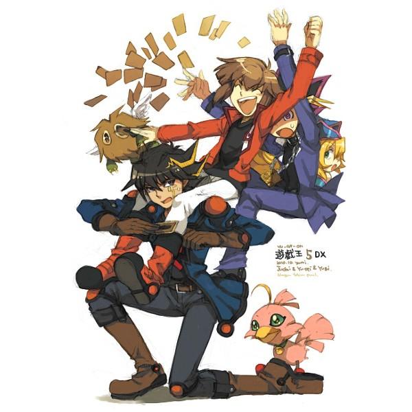 Tags: Anime, Yu-Gi-Oh!, Yu-Gi-Oh! Duel Monsters, Yu-Gi-Oh! GX, Yu-Gi-Oh! 5D's, Juudai Yuuki, Mutou Yuugi, Yusei Fudo, Winged Kuriboh, Sonic Chick, Dark Magician Girl