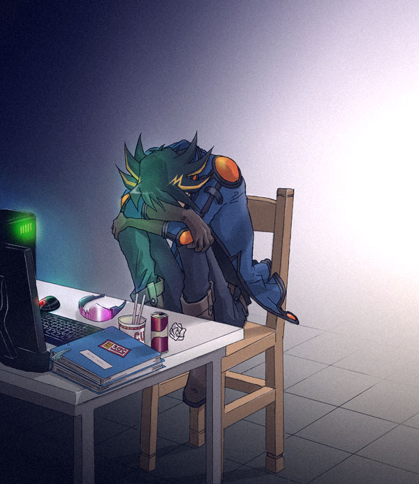 Tags: Anime, Yu-Gi-Oh! 5D's, Yu-Gi-Oh!, Yusei Fudo, Mouse (Computer), Keyboard (Computer), Fetal Position, Canned Drink, Can, Orz