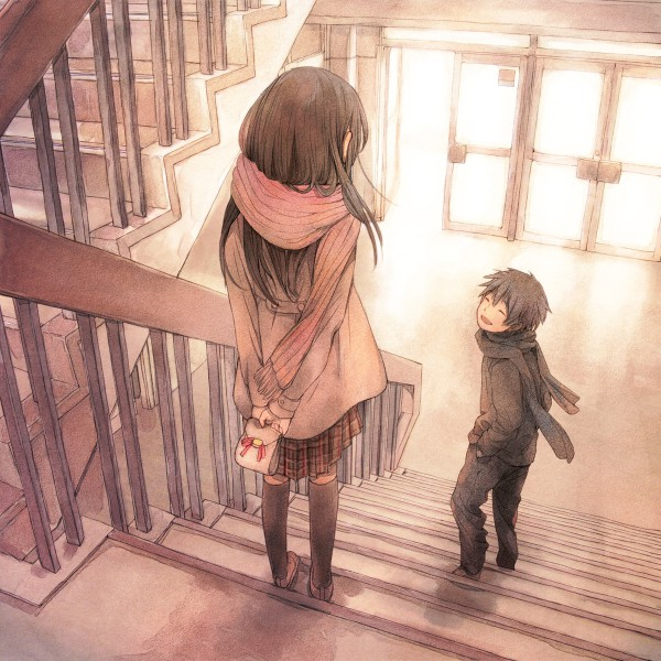 Tags: Anime, Yuu (Plasm), Holding Object, Stairs, Winter