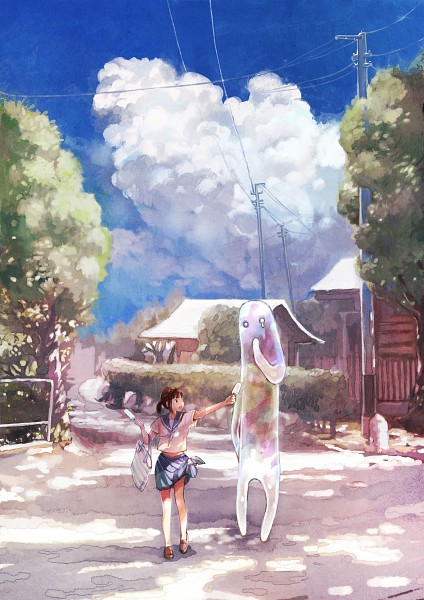 Tags: Anime, Summer, Ice Cream, Ghost, Utility Pole, Scenery, Q Pixiv: Free