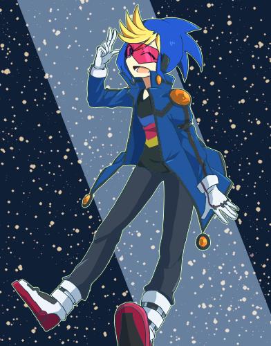 Tags: Anime, Pixiv Id 13006609, Yu-Gi-Oh!, Yu-Gi-Oh! ARC-V, Yuugo (Yu-Gi-Oh! ARC-V), Standing On Tip Toes, V-neck, Yusei Fudo (Cosplay), Spotlight, Three Gesture, Pixiv, Fanart From Pixiv, Fanart