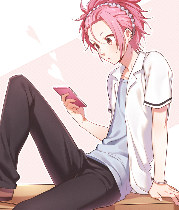 Tags: Anime, kzmt, Binan Koukou Chikyuu Bouei-bu Love!, Zaou Ryuu, Holding Phone, Ear Cuff, iPhone, Helix Piercing, Pixiv