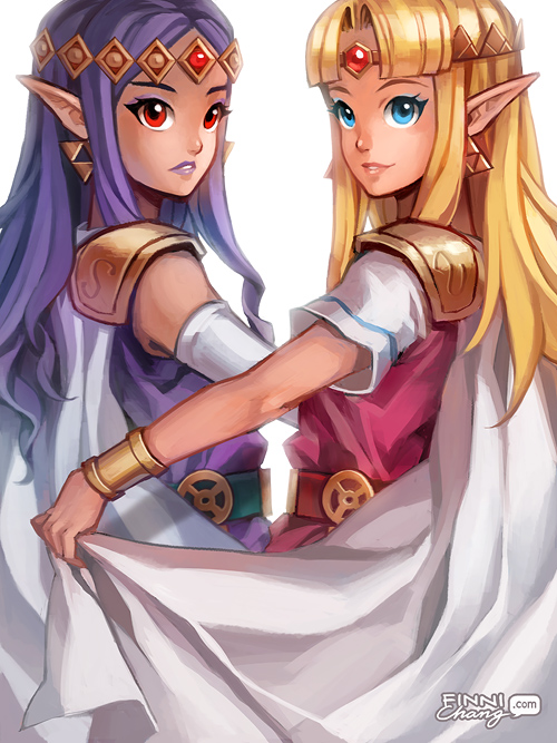 Tags: Anime, Finni, Zelda no Densetsu: Kamigami no Triforce 2, Zelda no Densetsu, Zelda (Kamigami no Triforce 2), Princess Hilda, Princess Zelda, Triforce, Purple Lips, Fanart, Tumblr, A Link Between Worlds