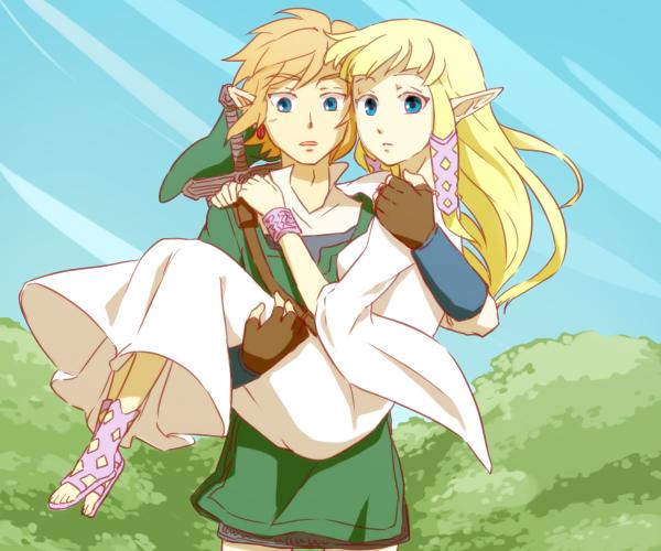 Tags: Anime, Saiba (Henrietta), Zelda no Densetsu, Zelda no Densetsu: Skyward Sword, Link (Skyward Sword), Princess Zelda, Zelda (Skyward Sword), Link, Fanart, Pixiv, Fanart From Pixiv