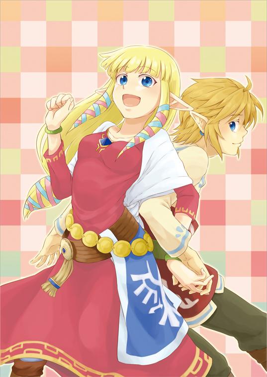 Tags: Anime, Saiba (Henrietta), Zelda no Densetsu, Zelda no Densetsu: Skyward Sword, Link (Skyward Sword), Princess Zelda, Zelda (Skyward Sword), Link, Pixiv, Fanart From Pixiv, Mobile Wallpaper, Fanart