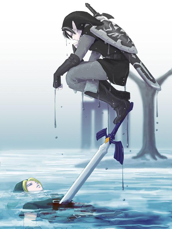 Tags: Anime, Pixiv Id 3932827, Zelda no Densetsu: Toki no Ocarina, Zelda no Densetsu, Dark Link, Link (Toki no Ocarina), Link, Tunic, Master Sword, Fanart From Pixiv, Pixiv, Fanart