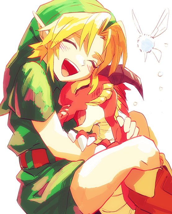 Tags: Anime, BeBeo, Zelda no Densetsu: Toki no Ocarina, Zelda no Densetsu, Navi, Link, Volvagia, Young Link, Link (Toki no Ocarina), Tunic, Hugging Animal, Fanart, Fanart From Pixiv