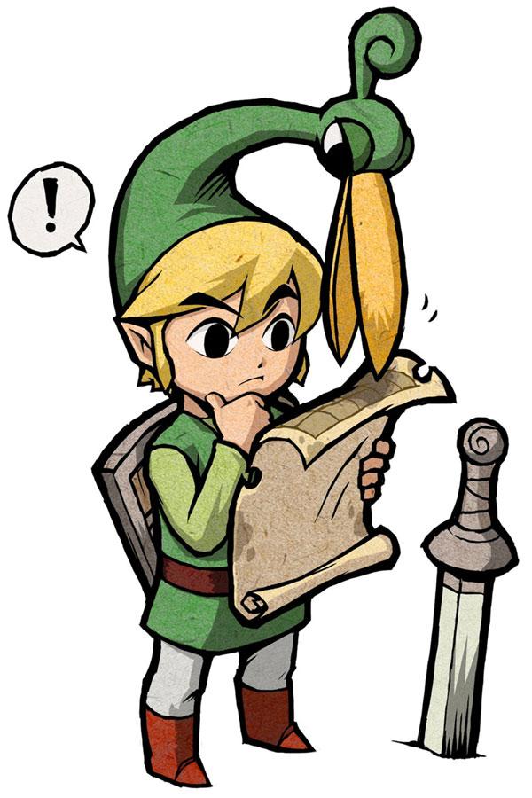 Tags: Anime, Nintendo, Zelda no Densetsu: Fushigi no Boushi, Zelda no Densetsu, Link, Ezlo, Link (Fushigi no Boushi), Thinking, Map, Artist Request, Official Art, The Legend Of Zelda