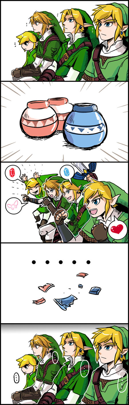 Tags: Anime, Nintendo, Zelda no Densetsu, Link, Young Link, Toon Link, 4koma