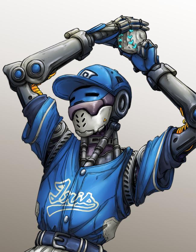 Tags: Anime, Pixiv Id 1604905, Overwatch, Zenyatta (Overwatch), Mechanical Arm, Prosthesis, Baseball Ball, Pixiv, Fanart, Fanart From Pixiv