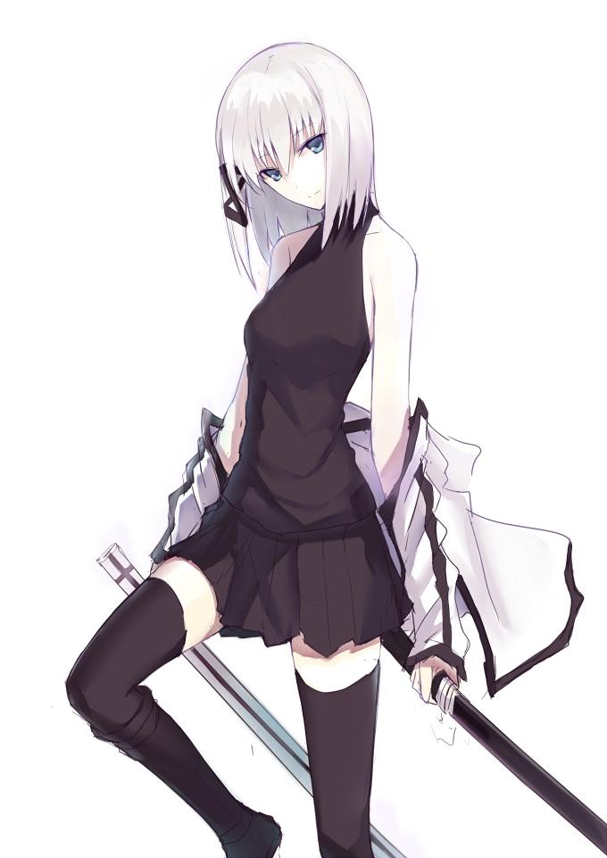 Anime girl with short black hair