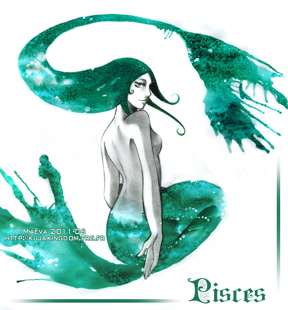 Tags: Anime, Maevachan, Zodiac (Personification), Pisces, Traditional Media, Zodiac, Watercolor