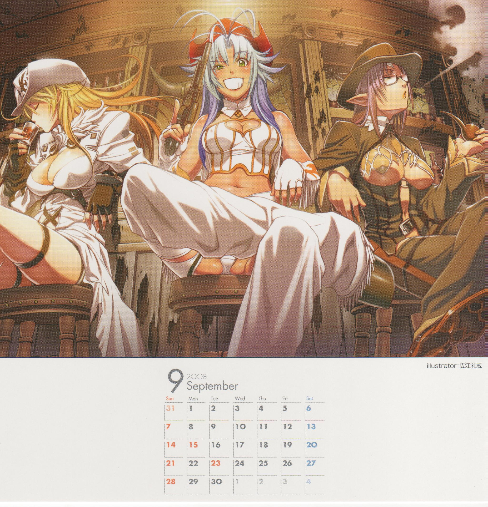 Tags: Calendar (Source), Nitro+, Hiroe Rei, Zoku Satsuriku no Django ~Jigoku no Shoukinkubi~, Donne Anonime, Lily Salvatana, Franco Il Nero, Calendar 2008, 2008 Nitro+ Calendar