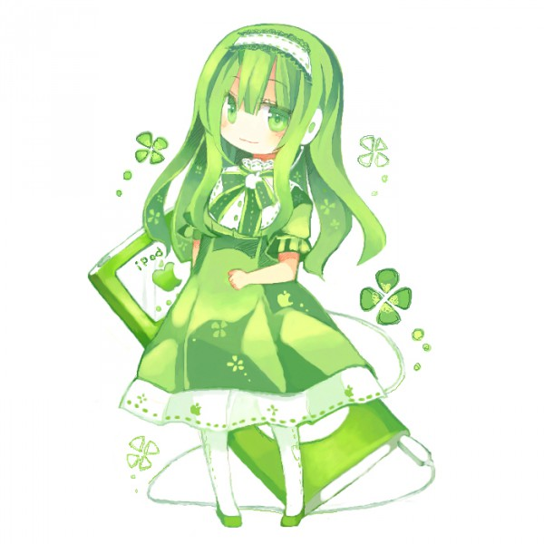 Tags: Anime, Aruya, iPod-tan, Green, Clover (Plant), Music, iPod