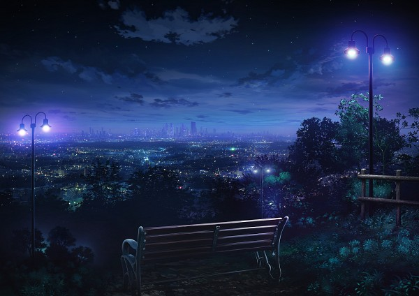 Tags: Anime, monorisu, Bench, Pole, Light Pole, Glow, City Lights