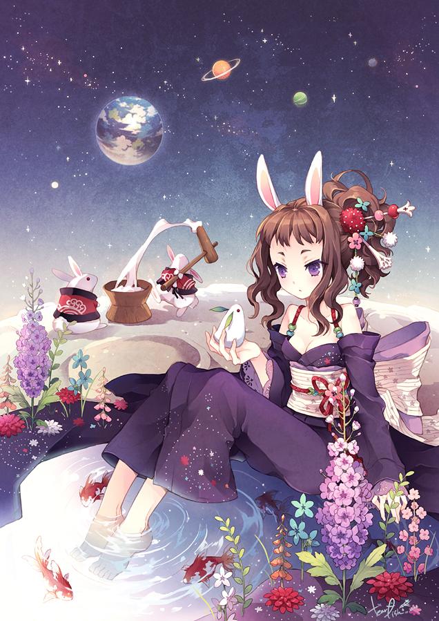 Tags: Anime, tearfish, Rabbit Pounding Mochi, Snow Rabbit, Original, Mobile Wallpaper, Happy 2011, Pixiv