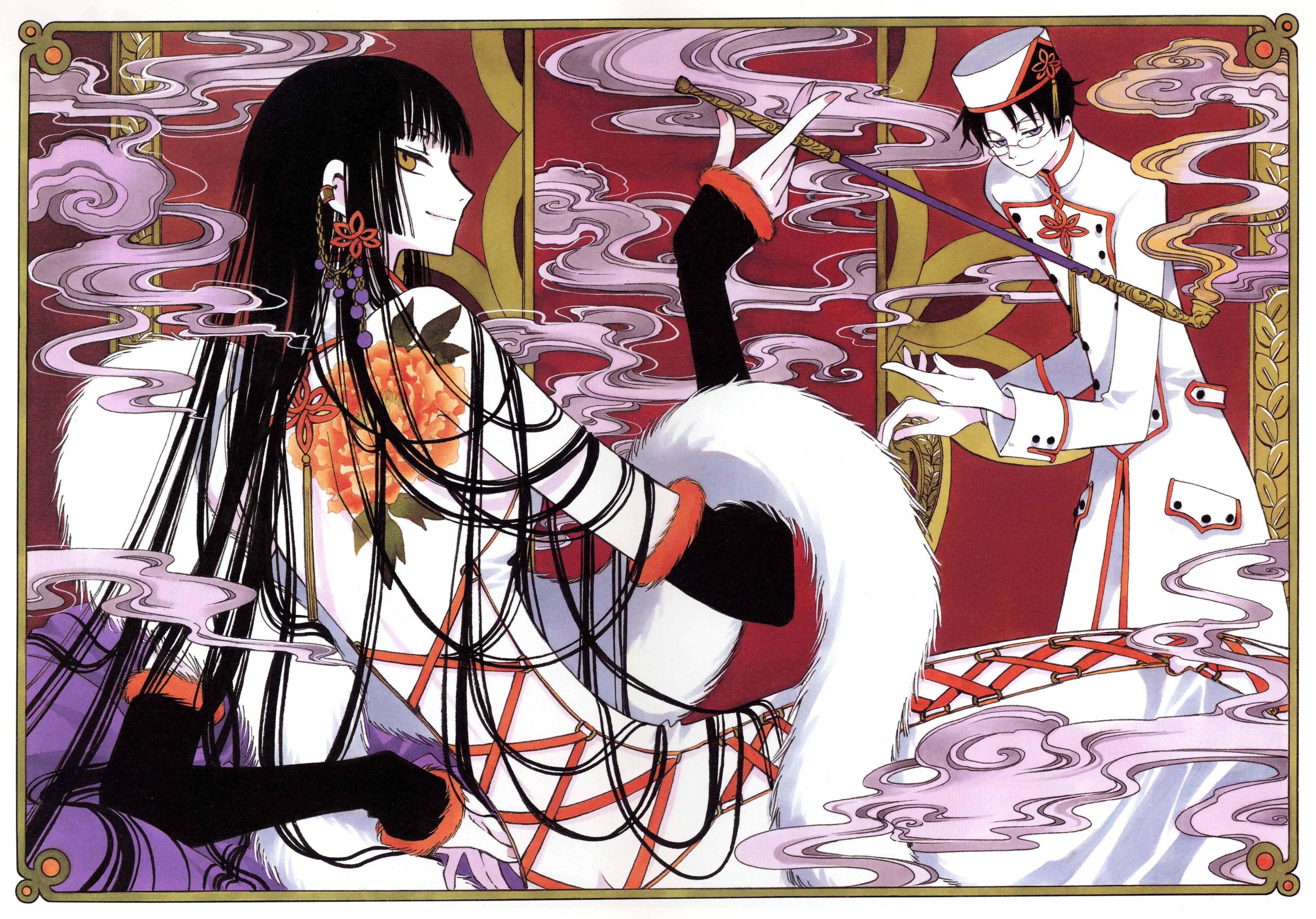 Inspiriert von den Charakter von Yuko Ichihara der Manga von CLAMP XXXholic Kleid Enthält das rote Kleid mit Pailletten und Stickerei Dekorationen grauem Taft Gürtel Hand bemalt handgefärbt roter Seide Gürtel mit goldenen Verzierungen Gürtel mit goldenen Quasten Kimono die satin weiß mit roten Futter rote Halskette handbemalt
